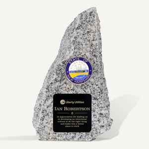6in New Hampshire Granite Award with New Hampshire Seal and Laser Engraved Black Brass Plate