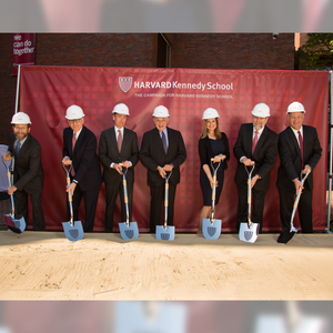 Specialty Chrome Plated Groundbreaking Shovel - D-Handle - Harvard Kennedy School Groundbreaking Photo