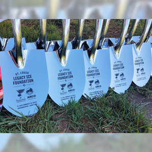 Specialty Chrome Plated Groundbreaking Shovel - D-Handle - St. Louis Blues Legacy Ice Foundation Groundbreaking Photo