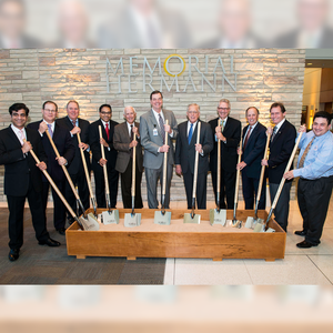 Specialty Chrome Plated Groundbreaking Shovel - Long Handle - Memorial Hermann Groundbreaking Photo