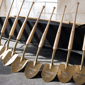 Specialty Gold Plated Groundbreaking Shovel - Baseball Bat Handle - Hartford Baseball Groundbreaking Photo