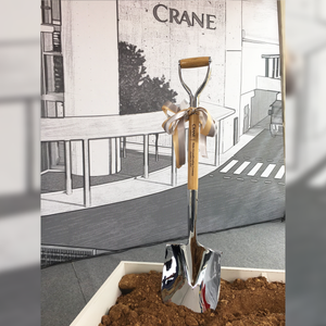 Traditional Chrome Plated Groundbreaking Shovel - D-Handle - Crane Currency Groundbreaking Ceremony Photo