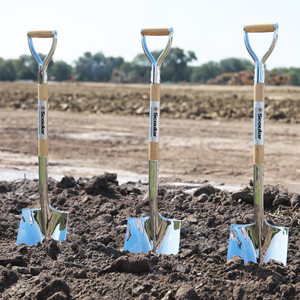 Traditional Chrome Plated Groundbreaking Shovel - D-Handle - Gray Construction Groundbreaking Ceremony Photo