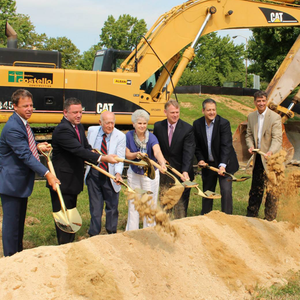 Traditional Gold Plated Groundbreaking Shovel - D-Handle - Little Patuxent Square Groundbreaking Photo