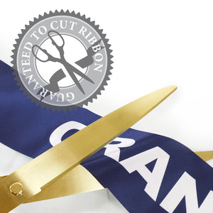 "36"" Blue Ribbon Cutting Scissors with Gold Blades"