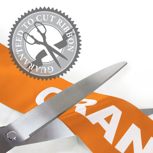 "25"" Orange Ribbon Cutting Scissors with Silver Blades"