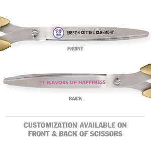 "25"" Gold Ribbon Cutting Scissors with Silver Blades"