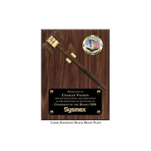 "9"" x 12"" Walnut Finish Removable Gavel Plaque with Laser Engraved Black Brass Plate"