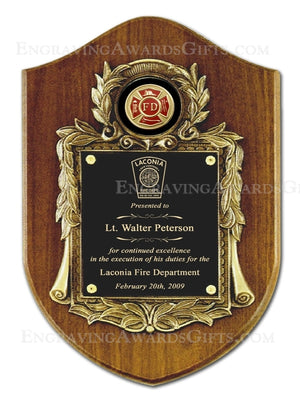 "10 1/2"" X 16"" Genuine Walnut Engraved Firefighter Shield Plaque Award"