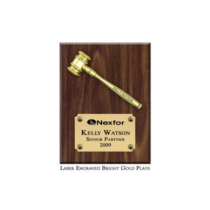 Mini Gold Metal Gavel Plaque with Bright Gold Plate