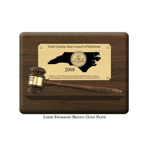 "Genuine Walnut 10-1/2"" Gavel Pedestal Plaques with Bright Gold Plate"
