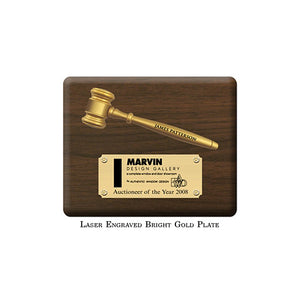 "10"" x 8"" Split Gavel Plaque with Laser Engraved Bright Gold Plate"