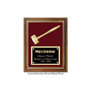 Engraved Split Metal Gavel Plaque - with Laser Egraved Black Brass Plate and Maroon Background