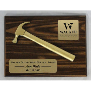 Walnut Golden Hammer Plaque