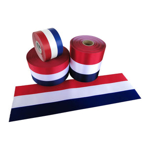 "4"" to 6"" Wide Satin RED/WHITE/BLUE Ceremonial Ribbon"