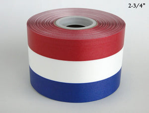 "2-3/4"" RED/WHITE/BLUE Ceremonial Ribbon - 50 Yard Roll"