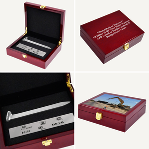 Silver Plated Ceremonial Spike Piano Finish Presentation Case