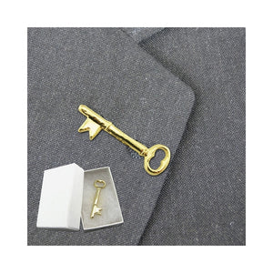 Gold Key Lapel Pins - Skeleton Key