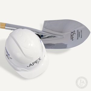Chrome Specialty Shovel Laser Engraved and White Round Front Hard Hat with Vinyl Decals