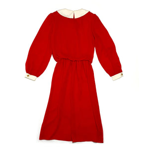 Vintage 80s Red Dress w/ Peter Pan Collar