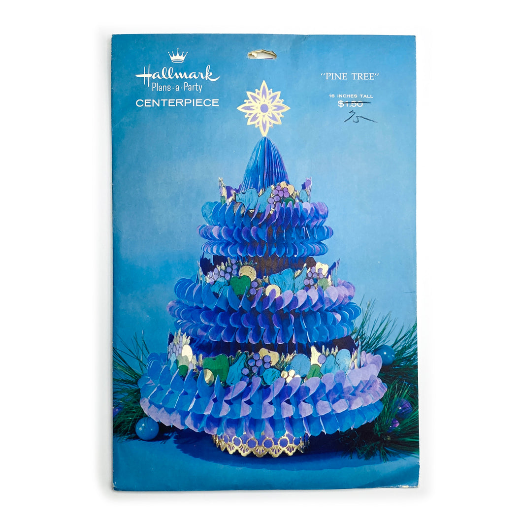 Vintage Hallmark Blue Pine Tree Centerpiece