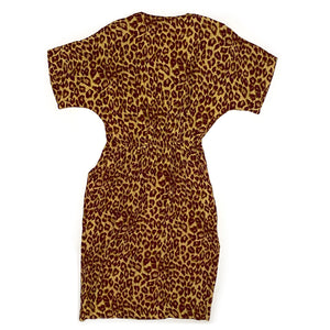 Vintage 90s Leopard Dress w/ Kitty Buttons