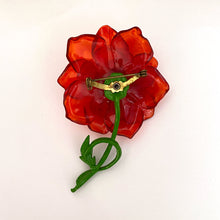 Load image into Gallery viewer, 1970s Red Lucite Flower Brooch