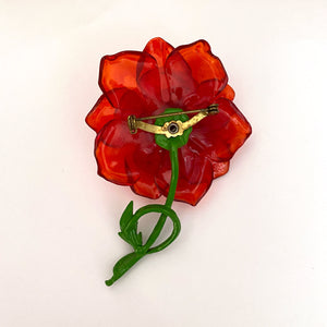 1970s Red Lucite Flower Brooch