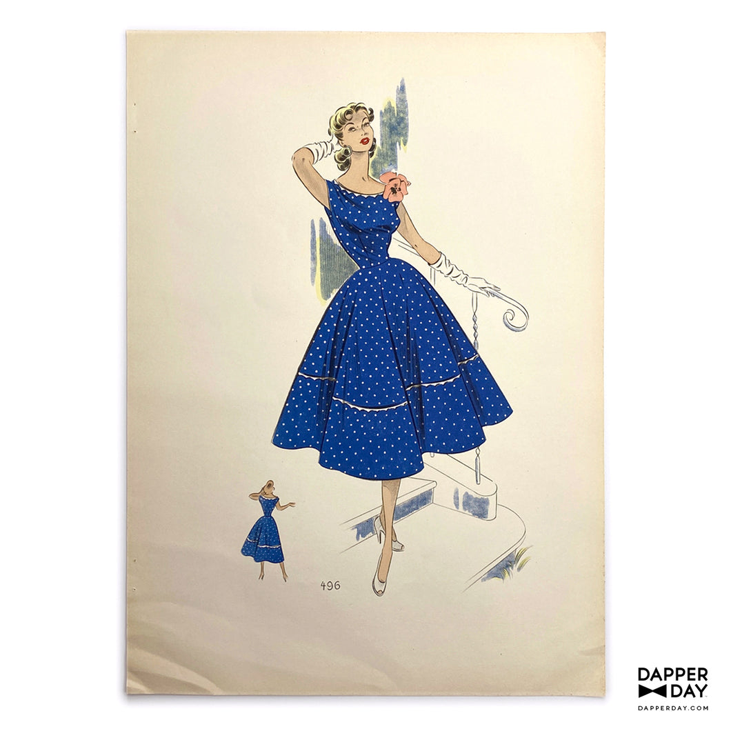 Vintage 1953 Women's Fashion Sketch Print: Blue Mini Dots