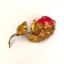 Load image into Gallery viewer, Vintage Pink Rhinestone Rose Brooch