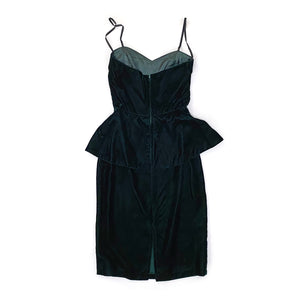Vintage 80s Green Velvet Dress w/ Peplum