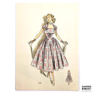 Vintage 1953 Women's Fashion Sketch Print: Pink Dot Drama