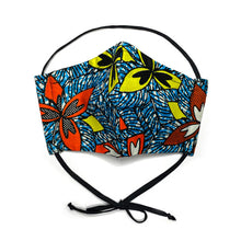 Load image into Gallery viewer, Blue Tropics African Print Mask
