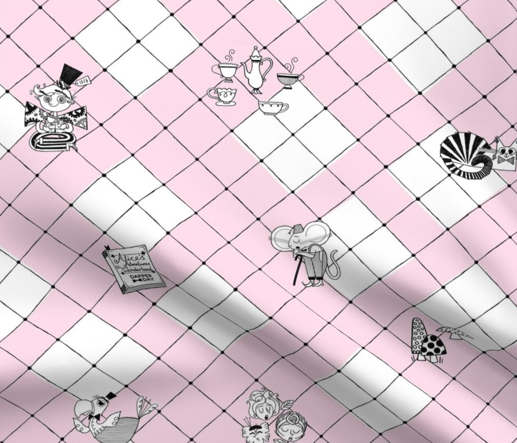DAPPER DAY® Alice in Wonderland Fabric {Pink Check}