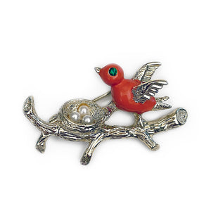 Vintage Gerry's Bird with Nest Eggs Brooch