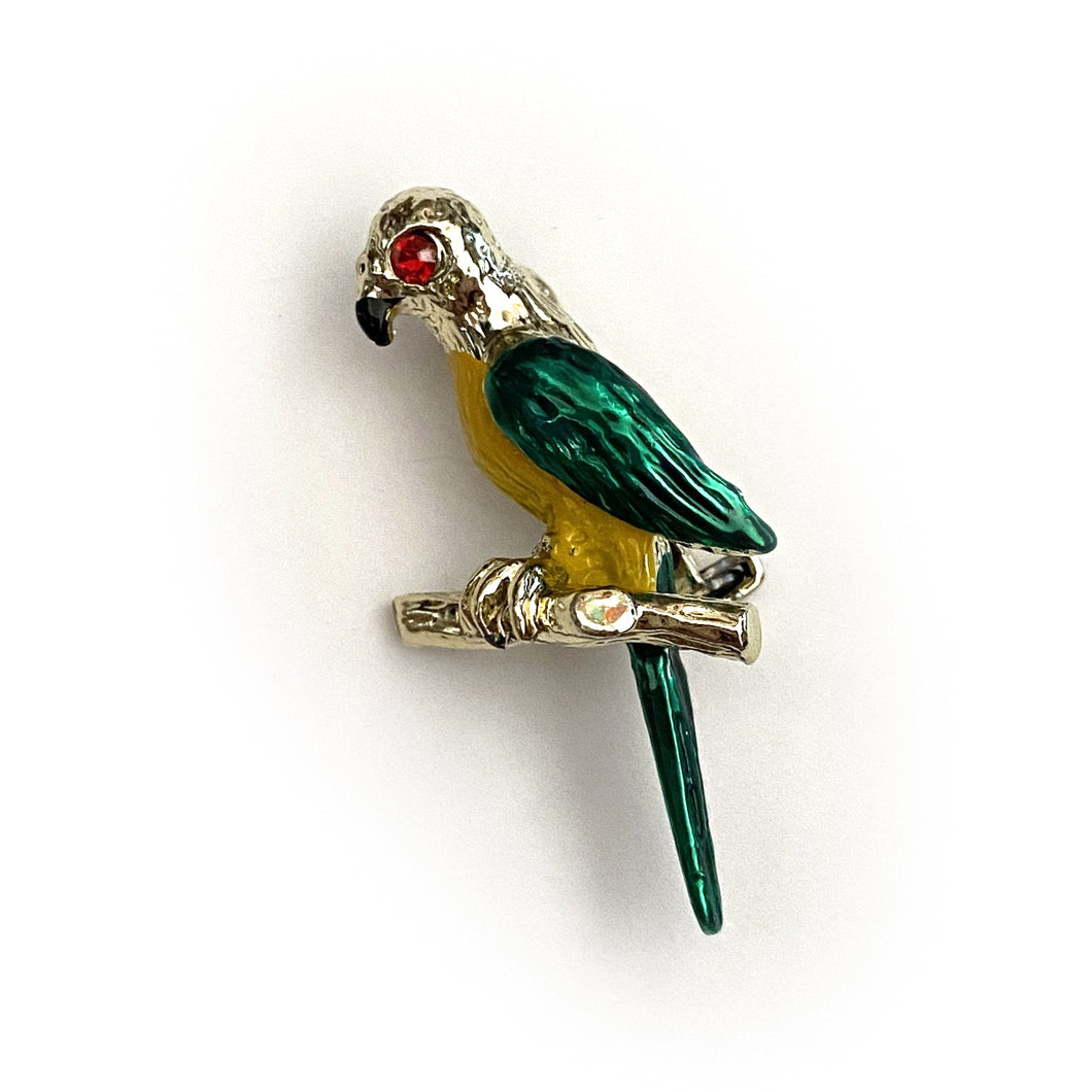 1970's Painted Parrot Brooch