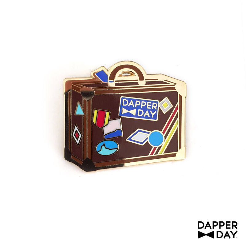 DAPPER DAY Luggage Lapel Pin, Brown