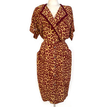 Load image into Gallery viewer, Vintage 90s Leopard Dress w/ Kitty Buttons