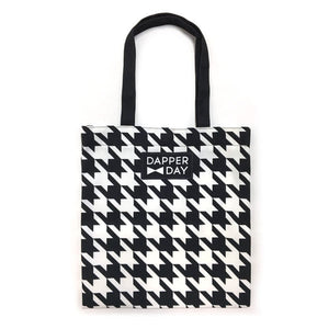 Houndstooth Print Snap Tote Bag