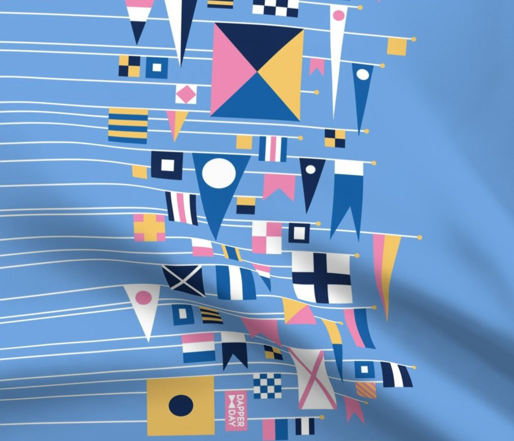 DAPPER DAY® Flags Ahoy Fabric {Border Print in Sky}