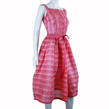 Load image into Gallery viewer, Vintage 1950s Sheer Pink Ruffle Dress