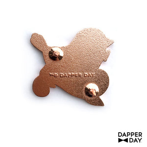 Rose Gold Blue Bird Pin
