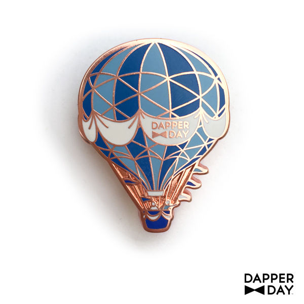 Rose Gold Hot Air Balloon Pin in Blues