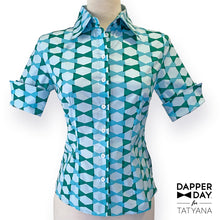 Load image into Gallery viewer, Lori Ann Blouse in Blue Lagoon Bow Ties