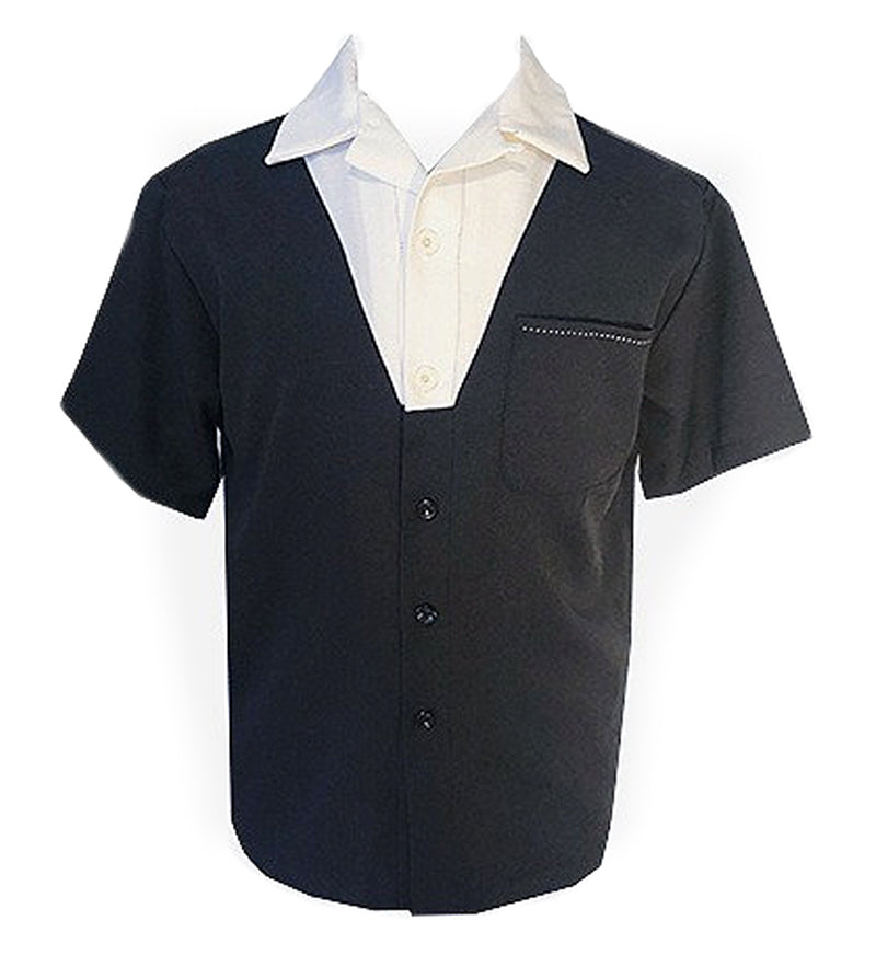 Swankys Vintage V-Panel Black & White Button Up Shirt