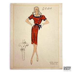 Original Edyth Sparag Fashion Sketch - Vintage Illustration