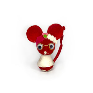Vintage Red Velvet Mouse Ornament