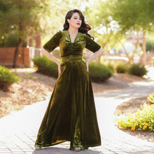 Load image into Gallery viewer, Charleston Jumpsuit in Olive Velvet