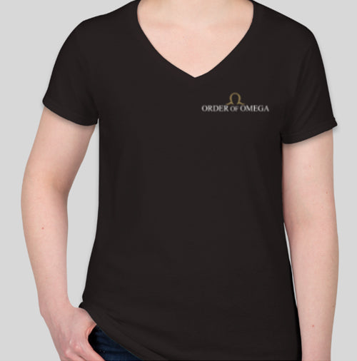 Order of Omega women's v-neck T-shirt front