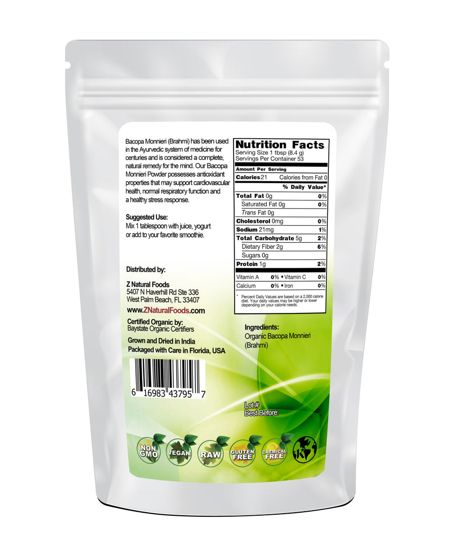 Bacopa Monnieri (Brahmi) Powder - Organic Vegetable, Leaf & Grass Powders Z Natural Foods